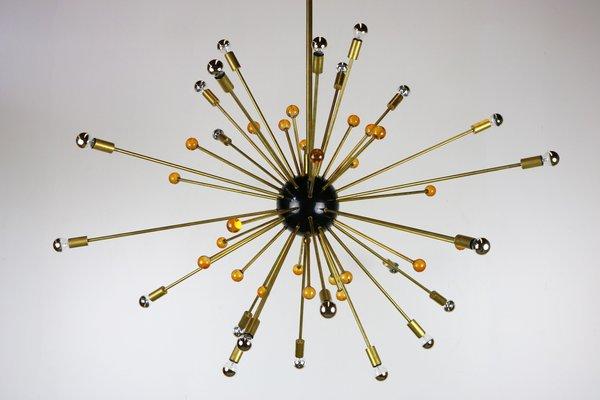 Lampadario Sputnik nero, dorato ed arancione di Stilnovo, anni \u002750,  Immagine 1
