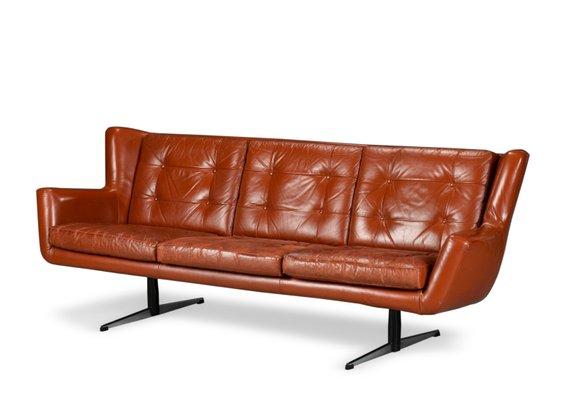 Superbe Vintage 3 Seater Leather Sofa By Skjold Sørensen 1