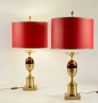 Lampes De Bureau En Laiton Et Resine Rouge 1960s Set De 2 En Vente