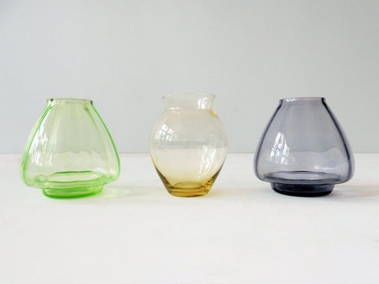 Dutch Small Colored Glass Vases By Ad Copier For Glasfabriek