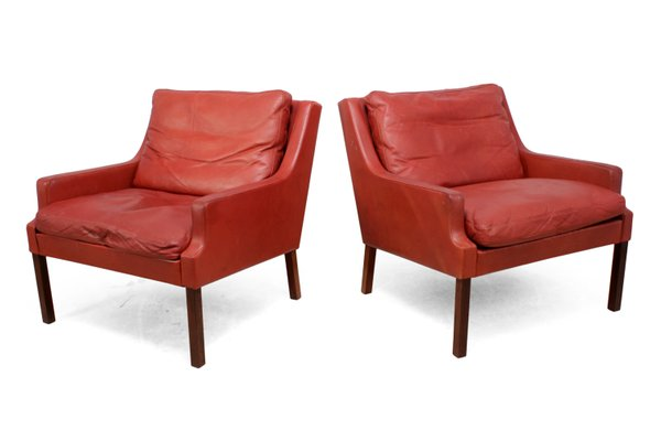 Fabulous Rosewood Red Leather Lounge Chairs With Stools By Rud Thygesen Johnny Sorensen For Vejen 1960S Set Of 2 Unemploymentrelief Wooden Chair Designs For Living Room Unemploymentrelieforg