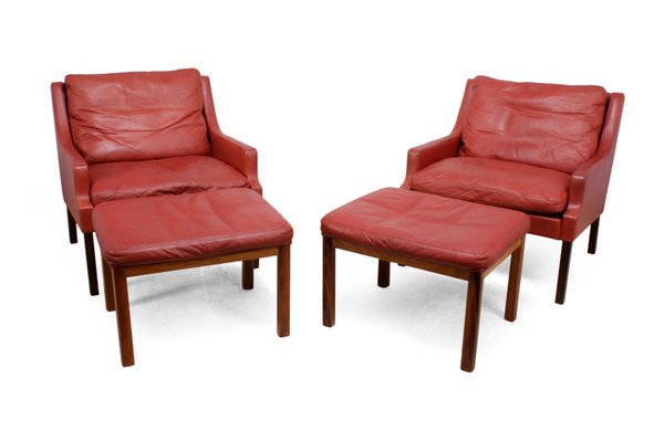 Peachy Rosewood Red Leather Lounge Chairs With Stools By Rud Thygesen Johnny Sorensen For Vejen 1960S Set Of 2 Unemploymentrelief Wooden Chair Designs For Living Room Unemploymentrelieforg