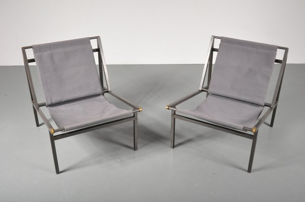 Metal Sling Chairs 1950s Set Of 2 1
