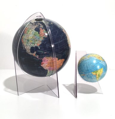 Mappamondi In Acrilico Di Scan Globe Rath Anni 70 Set Di 2 In