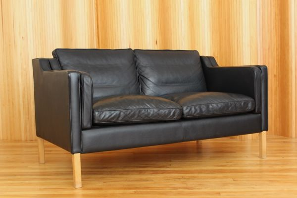 Black Two Seater Leather Sofa From Stouby 1970s 2