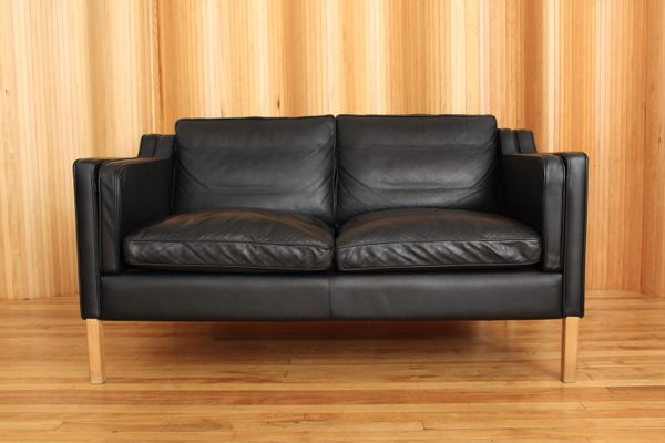 Black Two Seater Leather Sofa From Stouby 1970s 1