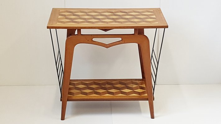 Mid Century French Marquetry U0026 Steel Console Table And Magazine Rack, ...