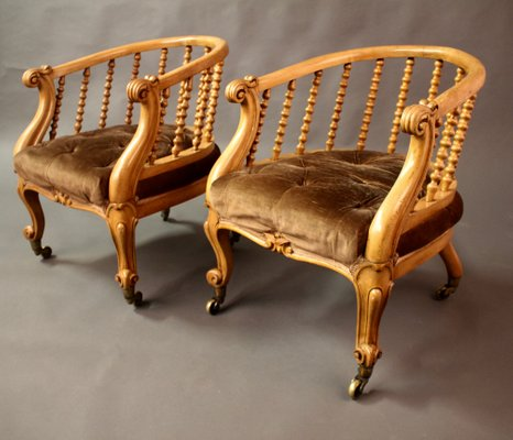 Victorian Satinwood Tub Chairs from J Kerr & Co, Set of 2 for sale ...