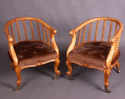 Victorian Satinwood Tub Chairs From J Kerr U0026 Co, Set Of 2