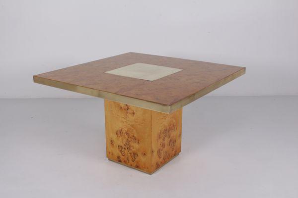 Tavolo Industriale Quadrato : Tavolo quadrato vintage in ottone e radica in vendita su pamono
