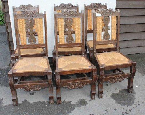 Sedie Schienale Alto Legno : Sedie da pranzo bretoni in legno di quercia intagliato con