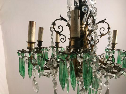 Lampadario vintage con pendenti in cristallo verde in vendita su