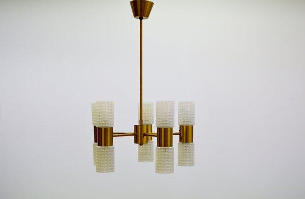 Lampadario in ottone e vetro di ikea anni in vendita su pamono