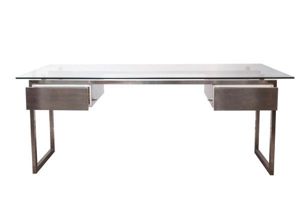 Bureau en acier inoxydable brossé avec plateau de verre 1970s en