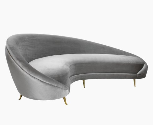 Large Vintage Italian Curved Sofa By Ico Luisa Parisi 1