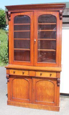 Victorian Mahogany Cupboard With Display Cabinet