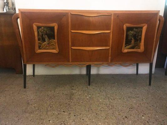 La Credenza Di Fiorenza : Credenza with handpainted relief front s for sale at pamono