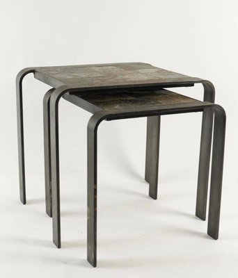 Groovy Wrought Iron And Slate Nesting Tables 1960S Set Of 2 Beatyapartments Chair Design Images Beatyapartmentscom
