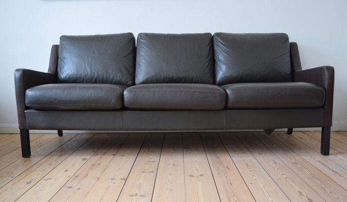 Danish Dark Brown Leather Sofa, 1960s 1