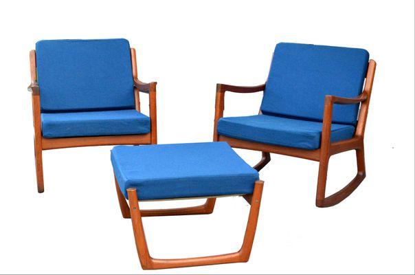 Charmant 2 Senator Rocking Chairs U0026 1 Footstool By Ole Wanscher For France U0026 Søn, ...