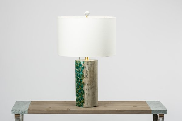 Nebula L Round Green Table Lamp In Concrete Resin By Niels