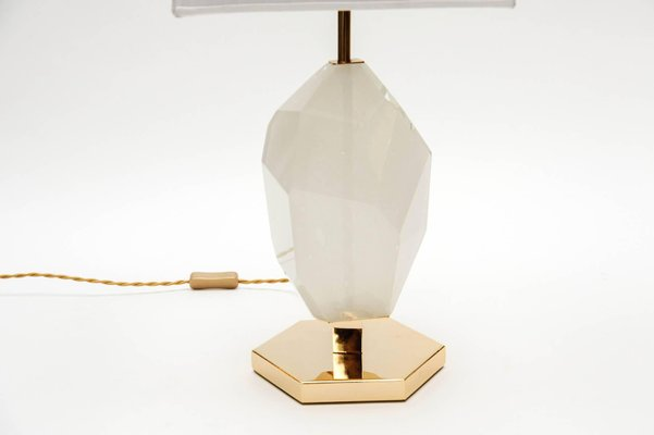 Lampes de bureau en laiton résine coupe au diamant par glustin
