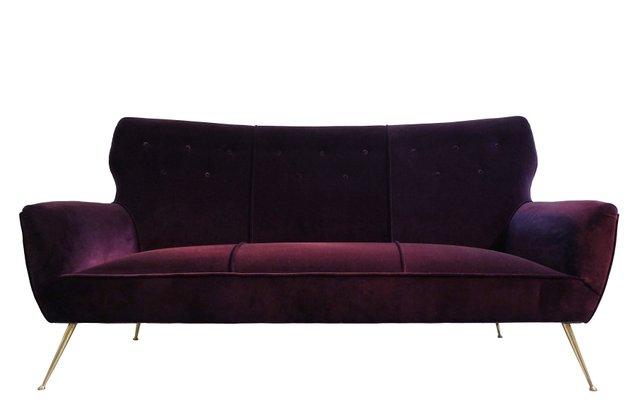 Incroyable Italian 3 Seater Aubergine Velvet Sofa With Brass Feet, 1950s 1