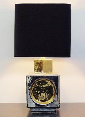 Lampe Cube En Ceramique Argentee Et Doree De Zaccagnini Italie 1960s