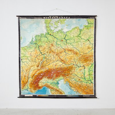 Vintage German Map of Central Europe from VEB Hermann Haack, 1970s