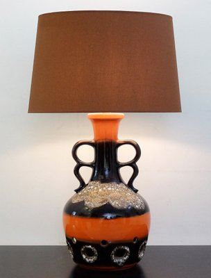 Orange Brown Fat Lava Ceramic Table Lamp 1960s For Sale At Pamono
