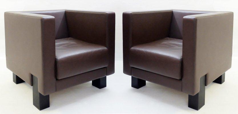 Poltrona Frau.Brown Leather Moji Club Chair By Shigeru Uchida For Poltrona Frau
