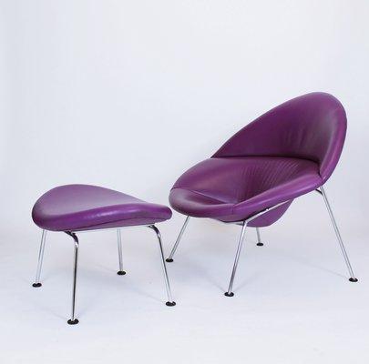 Purple Leather Globe Lounge Chair U0026 Ottoman By Pierre Paulin For Artifort,  ...