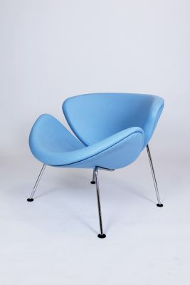Baby Blue Leather F437 Orange Slice Chair By Pierre Paulin For Artifort,  1960s 1