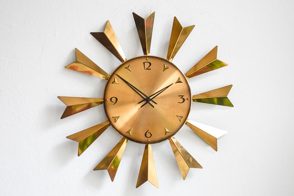 Mid Century Large Sunburst Wall Clock From Atlanta 1