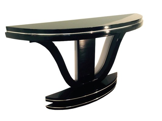 Curved Art Deco Console Table With Mirror Finish, 1920s 1