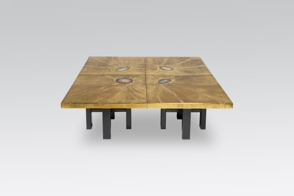 Modular Coffee Tables With Brass Engravings U0026 Agate Inlays By Lova  Création, 1970s, Set