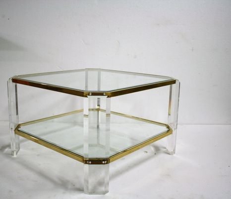 Lucite Coffee Table.Brass And Lucite Coffee Table From Fedam 1970s