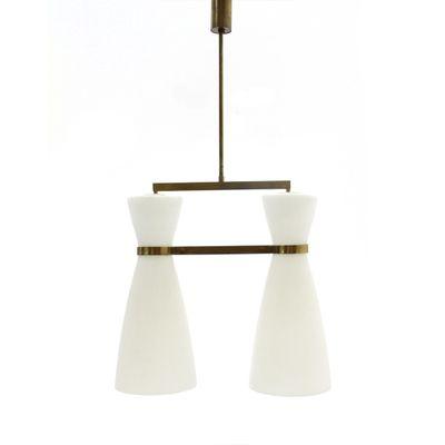 Italian brass opaline glass chandelier from stilnovo 1950s for italian brass opaline glass chandelier from stilnovo aloadofball Gallery