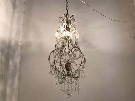 timeless design 4a032 d406c Vintage Macaroni Beaded Bird Cage Chandelier
