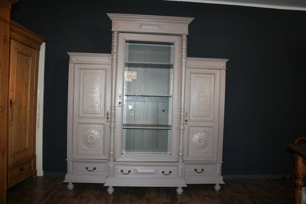 Large Antique 3 Part Display Cabinet In Taupe 1