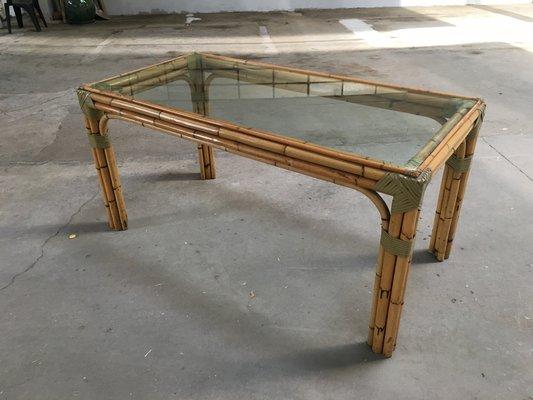 table de salle manger en bambou et verre italie 1960s 1