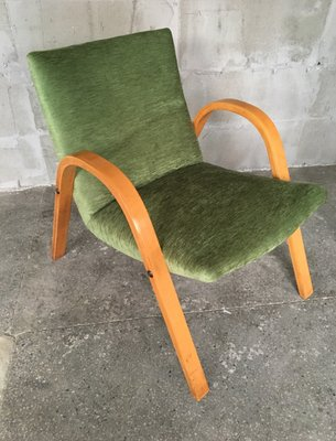 Mid Century French Bentwood Lounge Chairs By Hugues Steiner, Set Of 2 1