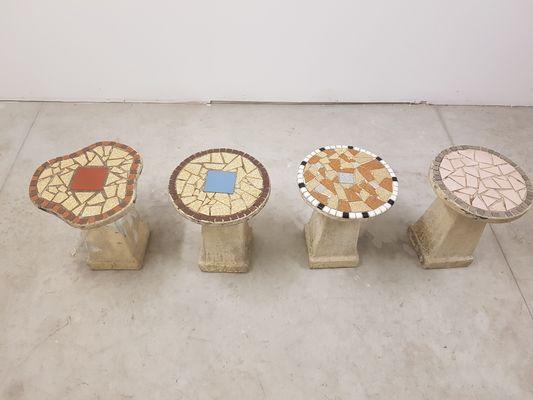 Sgabelli mid century in cemento set di in vendita su pamono