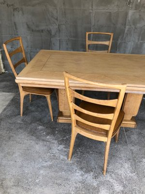 Art Deco French Oak Dining Table By Gaston Poisson 1930s 16