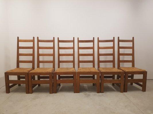 Sedie con sedute in paglia anni 70 set di 6 in vendita su pamono
