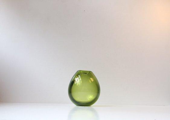 Modernist Green Teardrop Vase By Per Ltken For Holmegaard 1960s