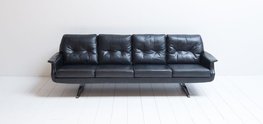 Vintage 4 Seater Black Leather Sofa 1