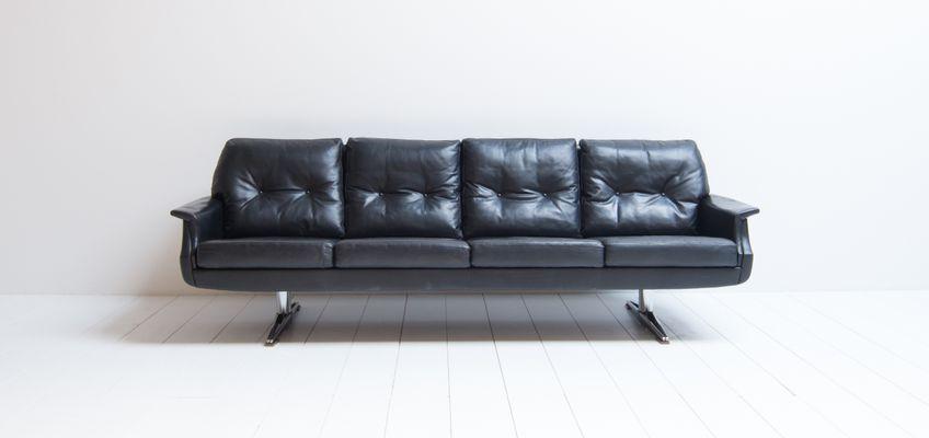 Charmant Vintage 4 Seater Black Leather Sofa 2