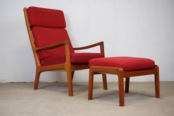 Mid Century Senator Highback Lounge Chair U0026 Ottoman By Ole Wanscher For  Cado 1