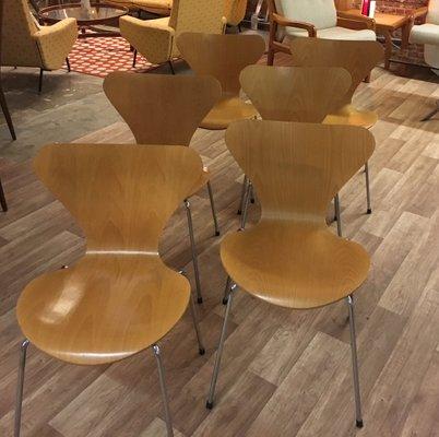 Buche Stühle Aus Vintage Serie 73107 Von Arne Jacobsen Für Fritz